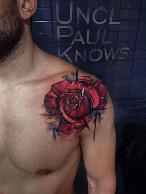 red rose tattoo for men on guys shoulder best design ideas