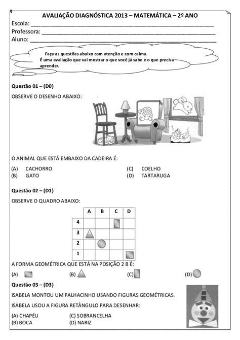 2º ano avaliação diagnóstica matemática