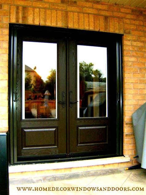 Double Fiberglass Garden Door With Built In Mini Blinds Exterior Door With Built In Screen