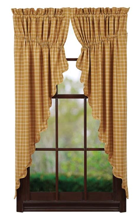 Gold Plaid Curtains Amherst Prairie Curtain By Vhc Brands The Patch