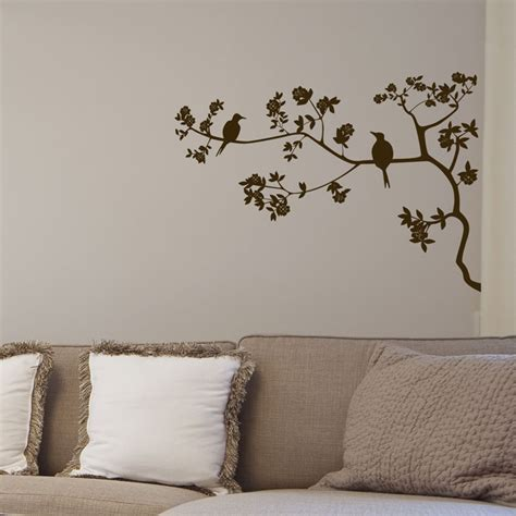 tree sticker for wall two birds tree branch wall decals vinyl sticker