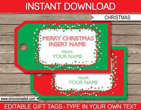 Christmas Gift Tag Template Printable Christmas Gift Tags Merry Tags Template
