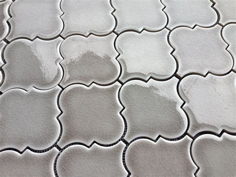 10 25sf dove gray arabesque glazed ceramic mosaic tile