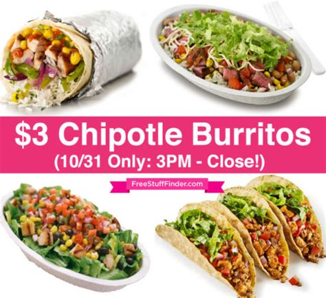 Chipotle E Gift Card - hot 3 chipotle burritos on halloween today only 3pm close free stuff finder