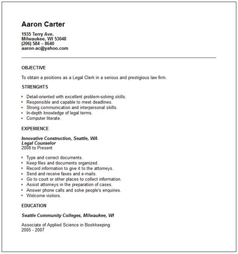 legal clerk resume example free templates collection