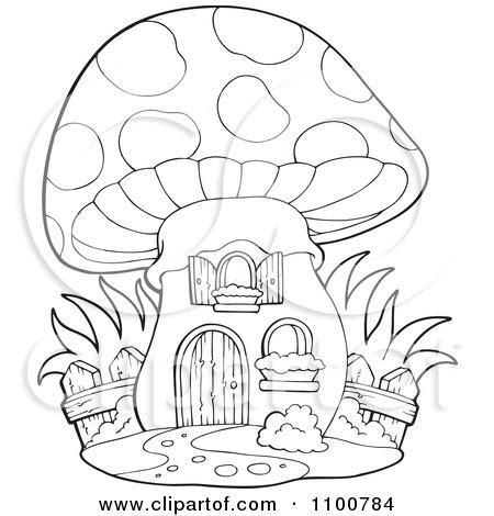 mushroom house coloring page mushroom clipart line drawing pencil and in color