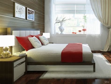 bedroom cozy red white floral motif bedroom curtains combination warm and cozy rooms rendered by yim lee