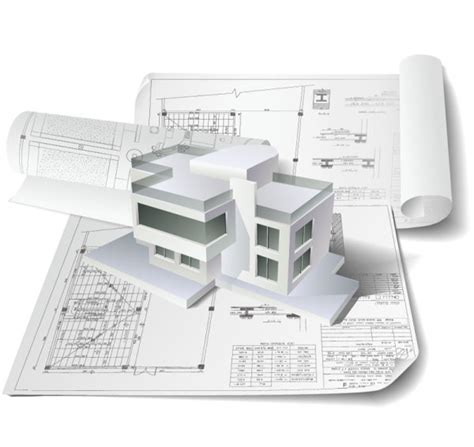 Construction Drawing Paper 4 Designer Vector Houses Architectural Drawing 01 Vector
