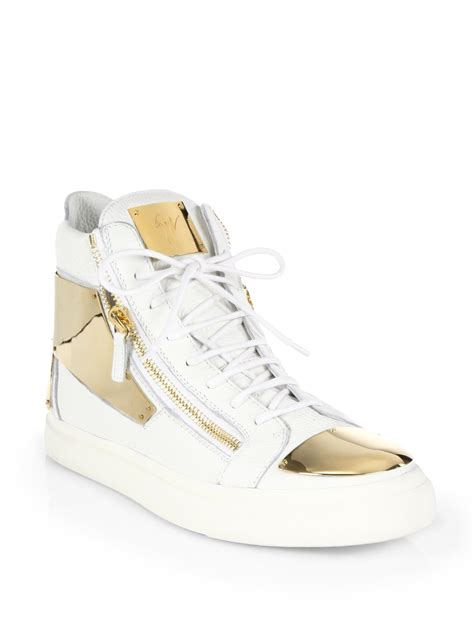 gold giuseppe sneakers giuseppe zanotti zip high top sneakers in gold