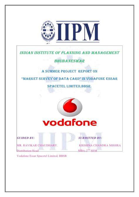 Project Management Certification Vs Mba by Vodafone Project By Krishna Mishra Iipm