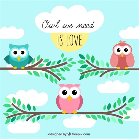 greeting card template with cute owl vector free download cute greeting card with owls vector free download