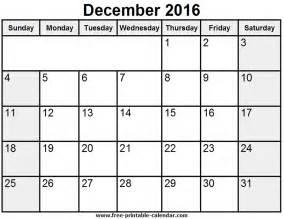December Printable Calendar December 2016 Printable Calendar Templates Free