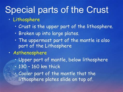 section of the lithosphere that carries crust earth crust