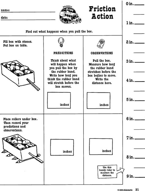 Friction Worksheet by Friction Printable Scholastic