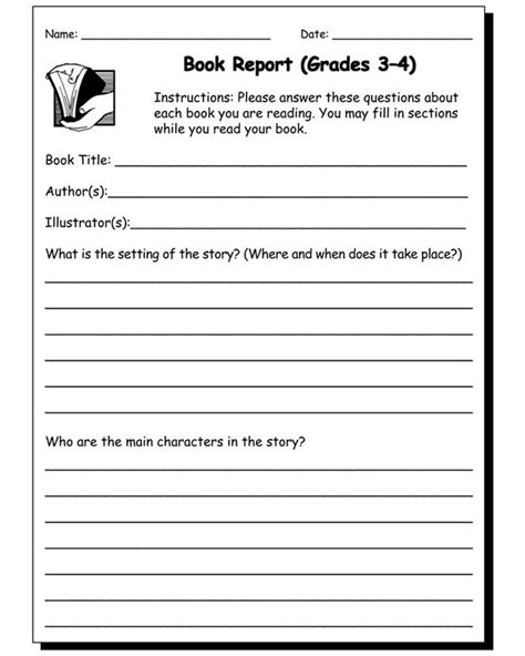 book reports for grade book report worksheet grades 3 and 4 homeschool