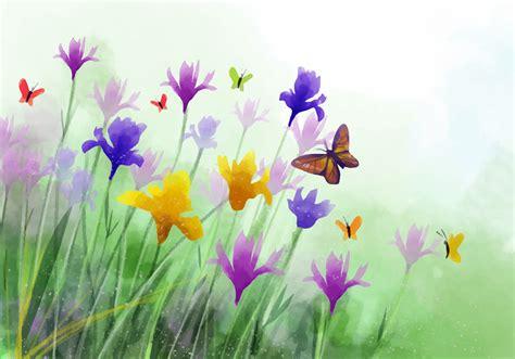 wildflower background watercolor wildflower iris flower vector background