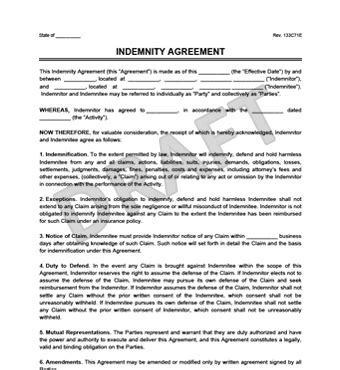 Create A Hold Harmless Indemnity Agreement Legal Templates Contractor Indemnity Agreement Template