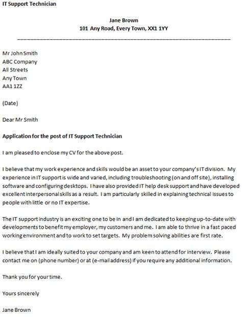 It Support Letter Template Covering Letter For An It Support Technician Icover Org Uk