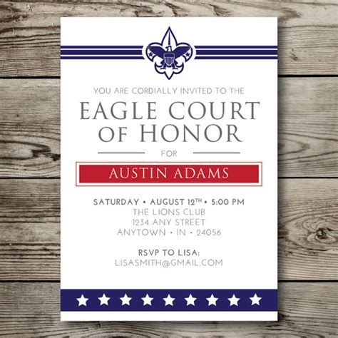 eagle scout invitation template printable eagle court of honor boy scouts by vallarinacreative
