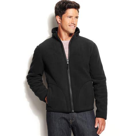 Jacket Calvin calvin klein fleece reversible zip jacket in black for lyst