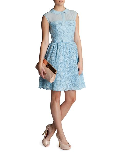 ted baker ranni lace belted dress in blue lyst