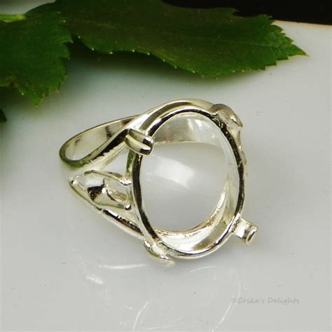 25x18 oval side deco cabochon cab sterling silver ring