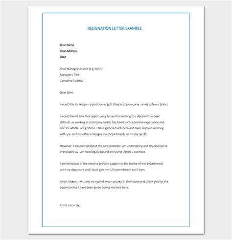 resignation letter template format sample letters