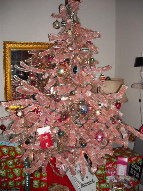 vintage chenille bottle brush feather christmas tree 5 ft