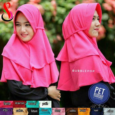jilbab pet rubiah 2 layers sentral grosir jilbab