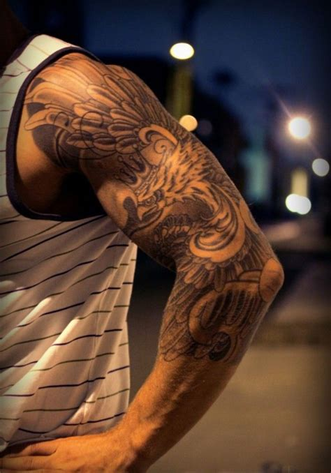 mens sleeve tattoo designs black and grey black and grey eagle sleeve for guys