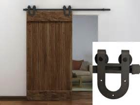 Barn Door Slide Hardware 6ft Coffee Antique Horseshoe Barn Wood Sliding Door Hardware Track Set New Ebay