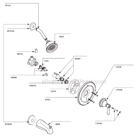 Moen Kitchen Faucet Cartridge Removal by Moen T2112 Parts List And Diagram Ereplacementparts Com