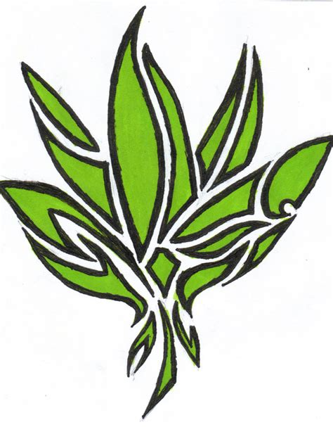 leaf tribal tattoo pot leaf drawing clipart best