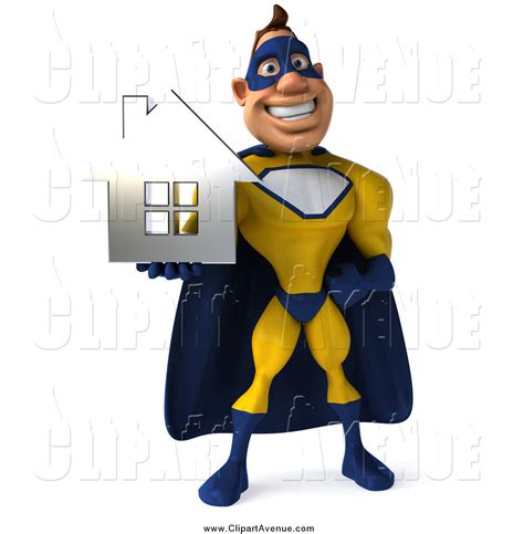 superhero house avenue clipart of a 3d happy white male super hero holding a chrome house by julos 2396