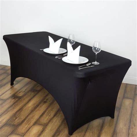 Marcelino Black Ft Katun Strecth Black 6 ft rectangular stretch spandex tablecloth black efavormart