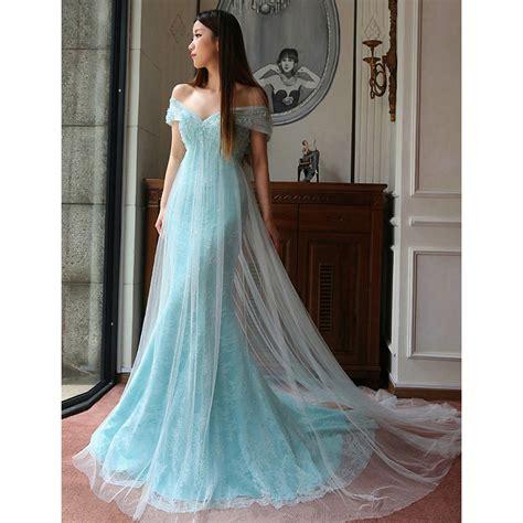 light blue off the shoulder dress light blue off the shoulder long prom dress cowl back