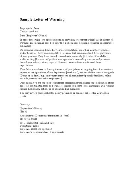Service Warning Letter best photos of warning to employee for misconduct letter template employee warning letter