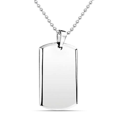 Stainless Steel Pendant Necklace beveled edge stainless steel tag pendant mens necklace
