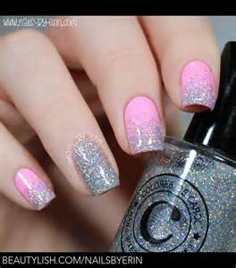 2 Light Vanity Pink And Silver Glitter Gradient Nails Erin M S