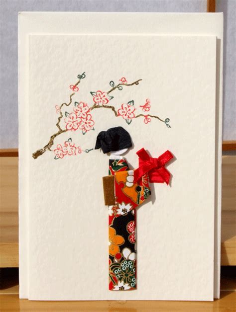 greetings card handmade geisha with gift on yuzen washi