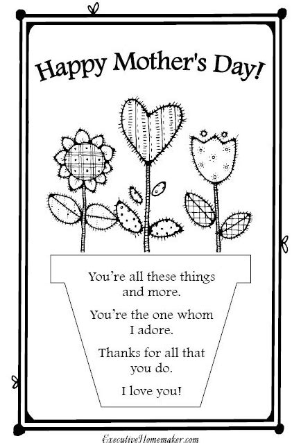 Printable Mothers Day Cards For Sunday School