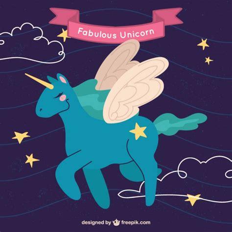 unicornios imagenes alas adorable unicornio azul con alas descargar vectores gratis