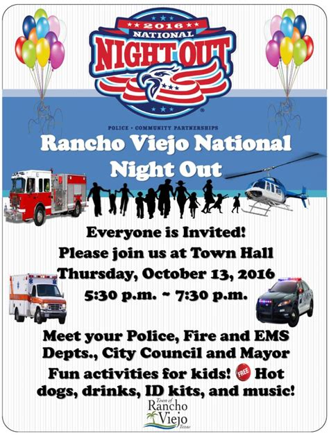 2016 texas national night out national night out 2016 town of rancho viejo