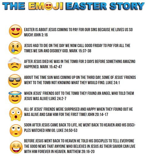 printable children s version of the easter story emoji easter story for kids printable children s