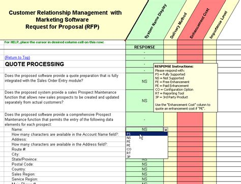 crm requirements template crm software evaluation selection customer relationship