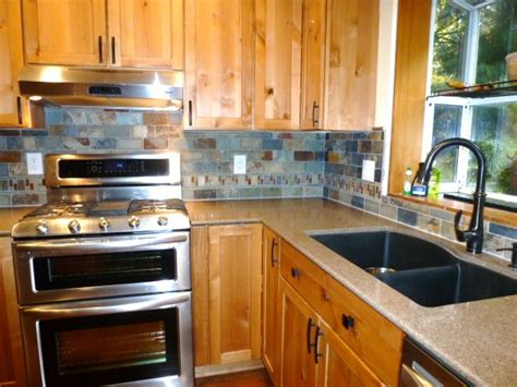 Slate Tile Kitchen Backsplash Kitchen Remodel Slate Tile Backsplash With Accents Www Mchenryhomeremodeling