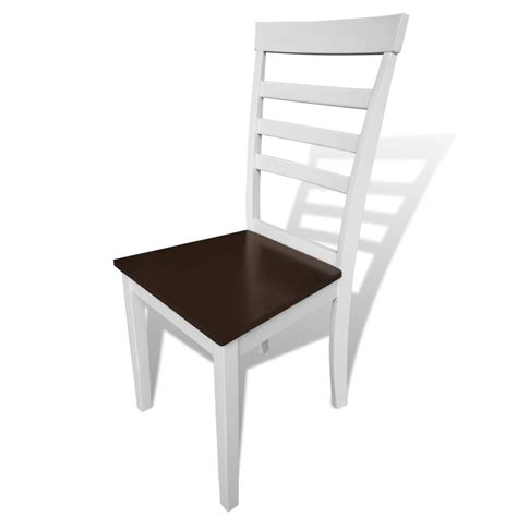 White Wood Dining Chairs Vidaxl Co Uk 8 Pcs Brown White Solid Wood Dining Chairs