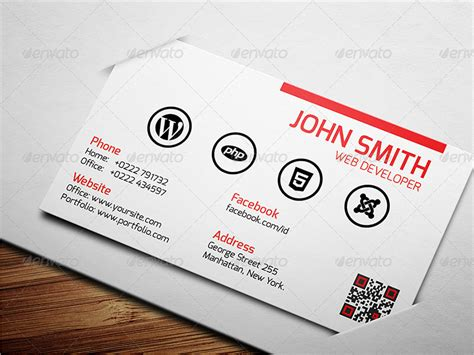 25 Web Developer Business Card Psd Templates Business Card Website Template Free