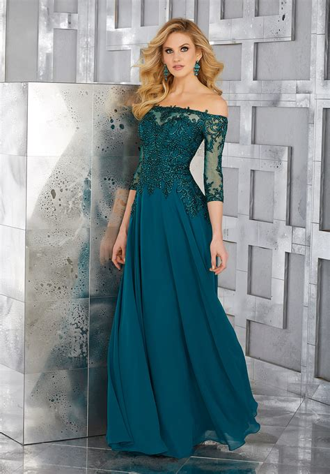 Evening Wedding Gown by Chiffon Social Occasion Gown With Beaded And