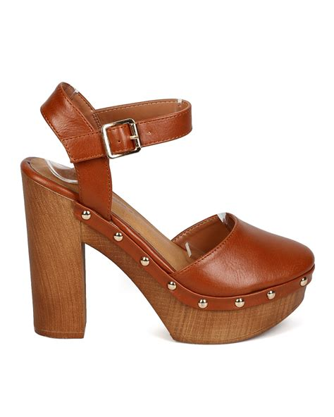 wooden heel clogs for new breckelles nora 01 leatherette almond toe wood